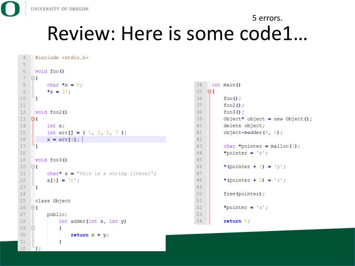 Review: Here is some code1…