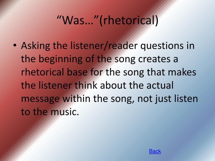 """""""Was…""""(rhetorical)"""