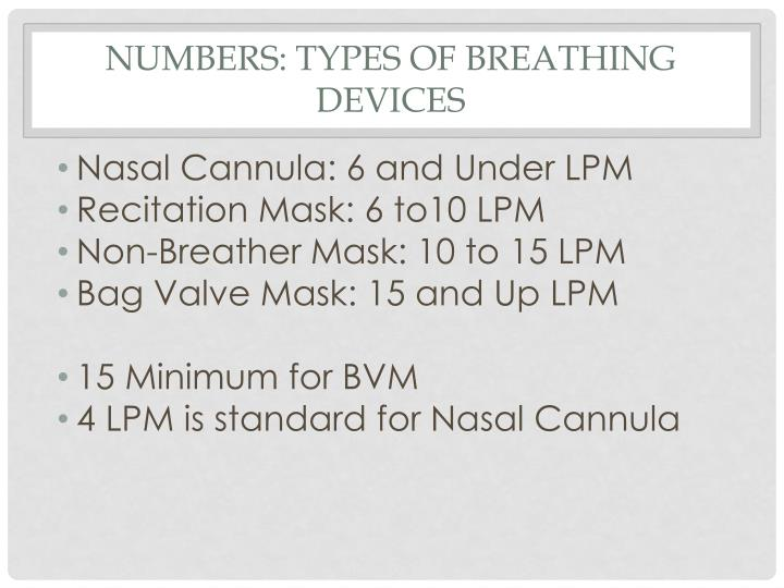Numbers: types of breathing devices