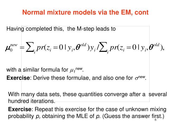 Normal mixture models via the EM, cont