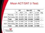 mean act sat t test