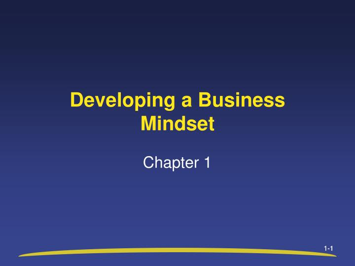 developing a business mindset n.