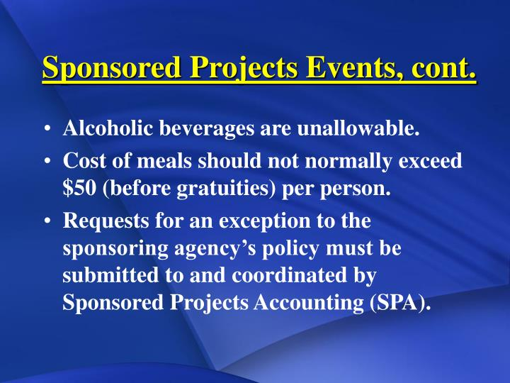 Sponsored Projects Events, cont.