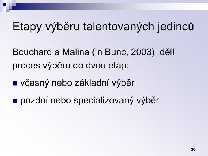 Etapy výběru talentovaných jedinců