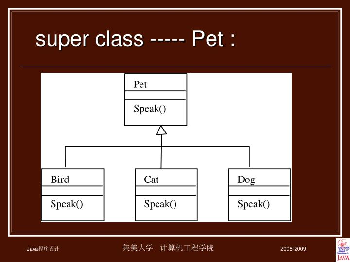 Super class ----- Pet :