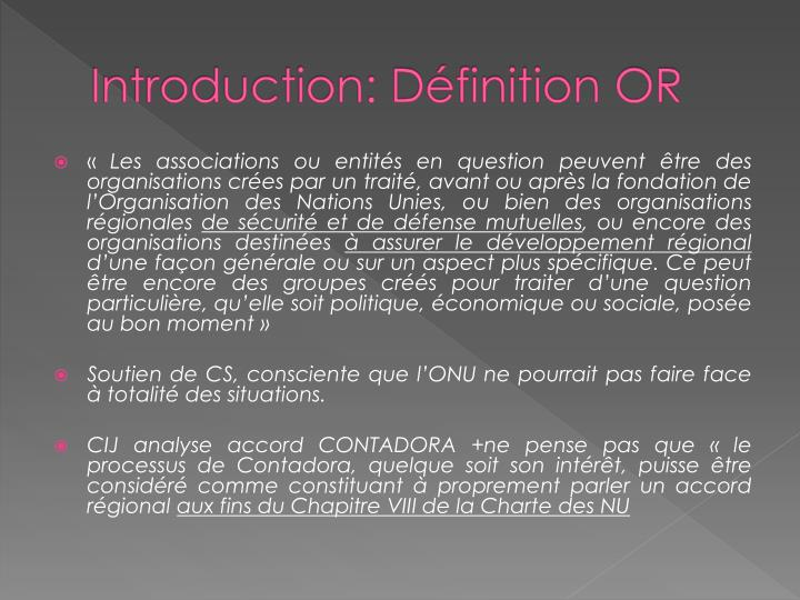 Introduction d finition or