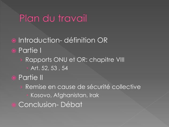 Plan du travail