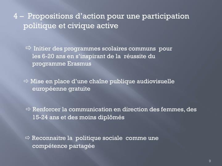 4 –  Propositions d'action pour une participation politique et civique active