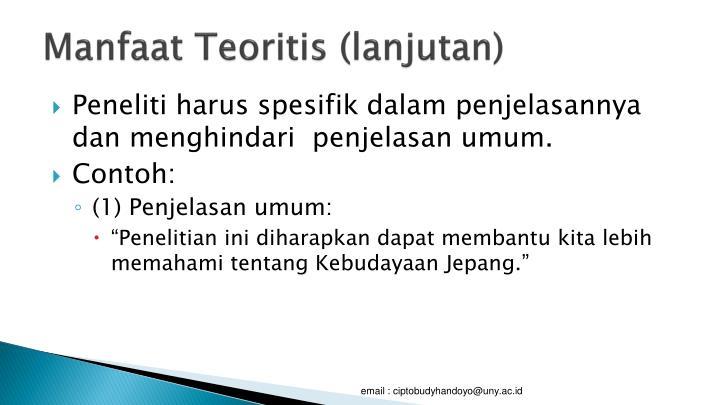 Manfaat Teoritis (lanjutan)
