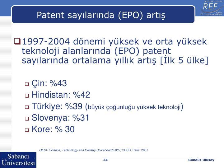 Patent sayılarında (EPO) artış
