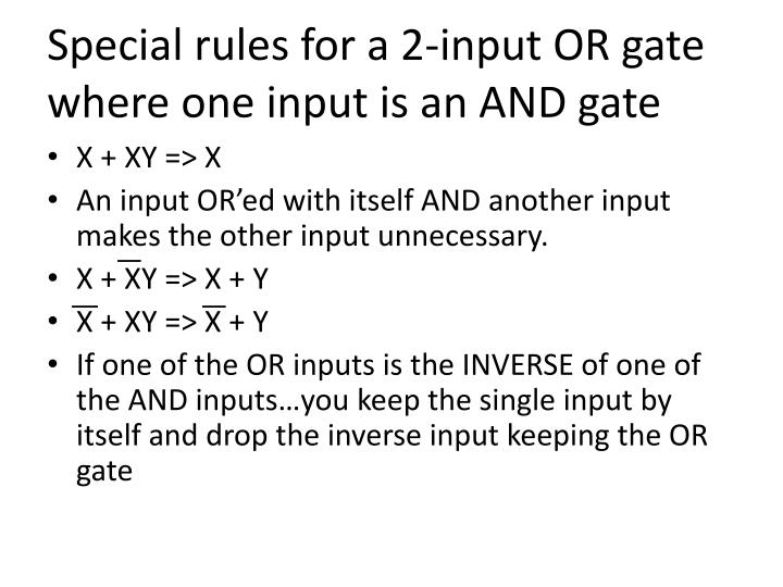 Special rules for a 2-input OR gate where one input is an AND gate