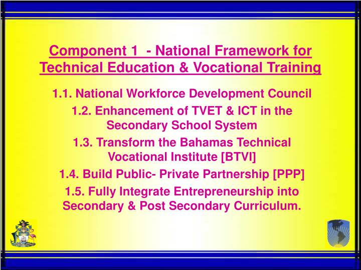 component 1 national framework for technical education vocational training n.