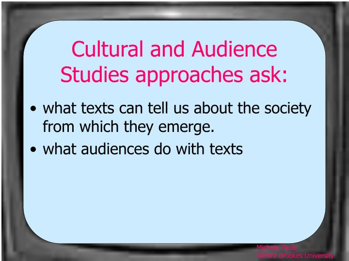 Cultural and audience studies approaches ask