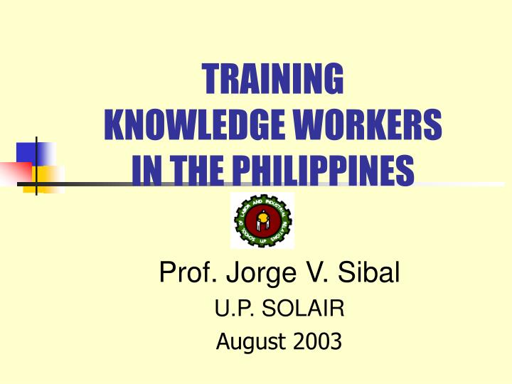 training knowledge workers in the philippines n.
