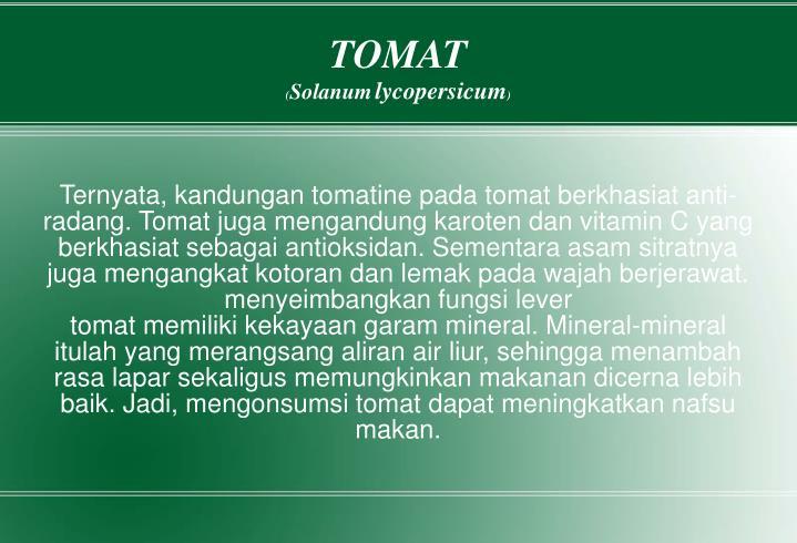 Ternyata, kandungan tomatine pada tomat berkhasiat anti-radang. Tomat juga mengandung karoten dan vitamin C yang berkhasiat sebagai antioksidan. Sementara asam sitratnya juga mengangkat kotoran dan lemak pada wajah berjerawat.
