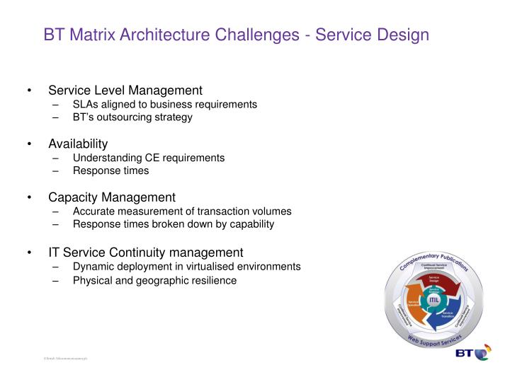 BT Matrix Architecture Challenges - Service Design
