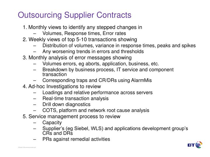 Outsourcing Supplier Contracts