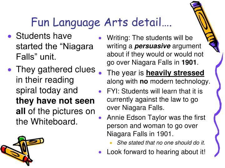 Fun Language Arts detail….