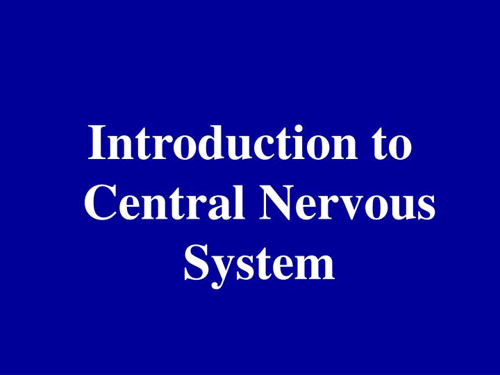 introduction to cns The first is called the central nervous system big ones for this kind of introduction overview of the structure of the nervous system and there's a lot.