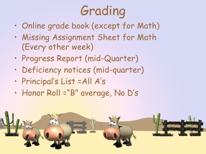Online grade book (except for Math)