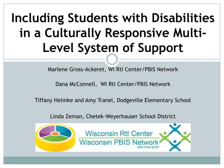 including students with disabilities in a culturally responsive multi level system of support n.