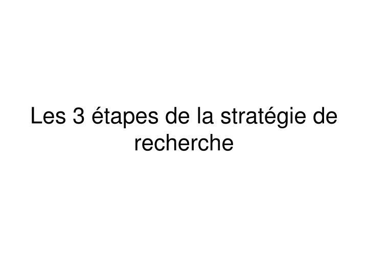 Les 3 étapes de la stratégie de recherche