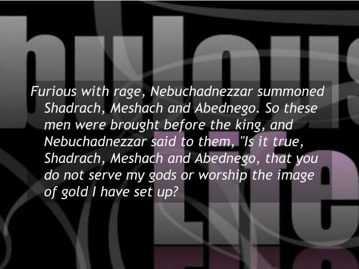 """Furious with rage, Nebuchadnezzar summoned Shadrach, Meshach and Abednego. So these men were brought before the king, and Nebuchadnezzar said to them, """"Is it true, Shadrach, Meshach and Abednego, that you do not serve my gods or worship the image of gold I have set up?"""