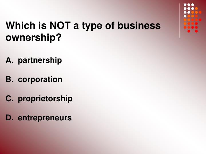 Which is NOT a type of business ownership?