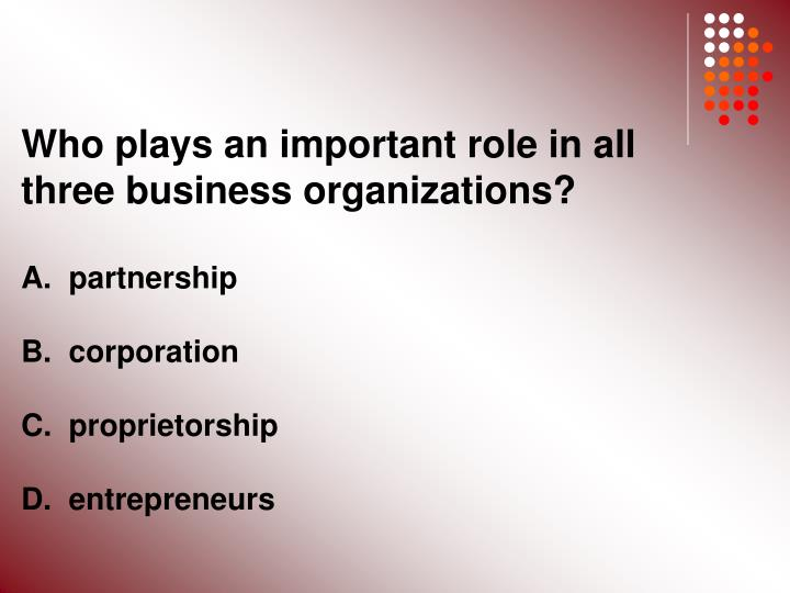 Who plays an important role in all three business organizations?