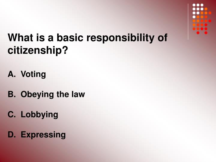 What is a basic responsibility of citizenship?