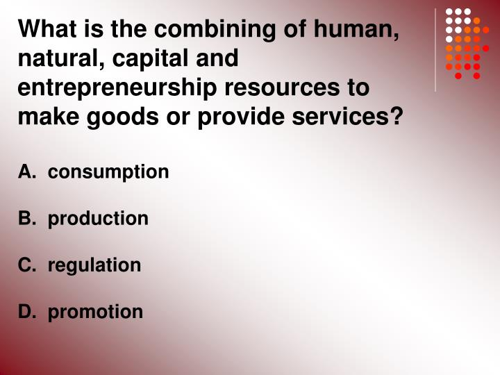 What is the combining of human, natural, capital and entrepreneurship resources to make goods or provide services?