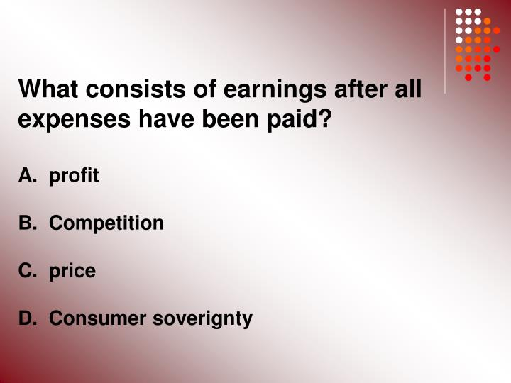 What consists of earnings after all expenses have been paid?