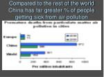 compared to the rest of the world china has far greater of people getting sick from air pollution
