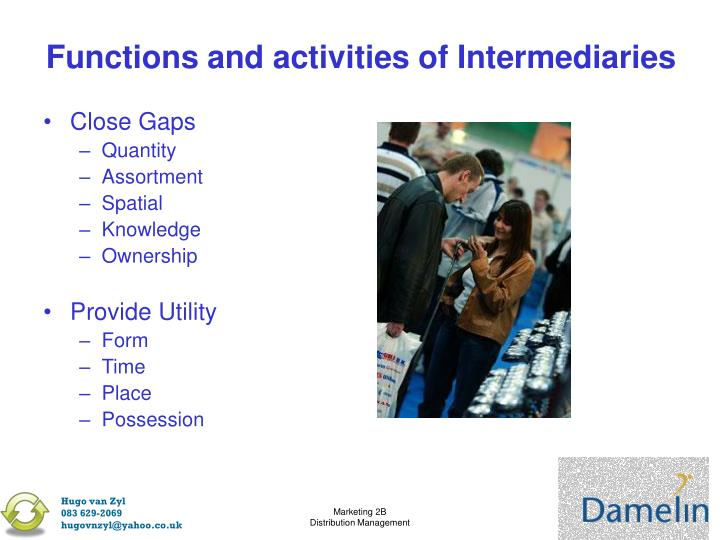 Functions and activities of Intermediaries