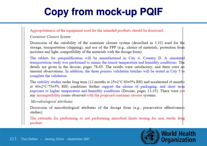 Copy from mock-up PQIF