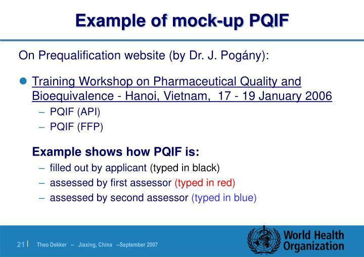 Example of mock-up PQIF