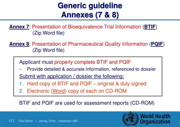 Generic guideline