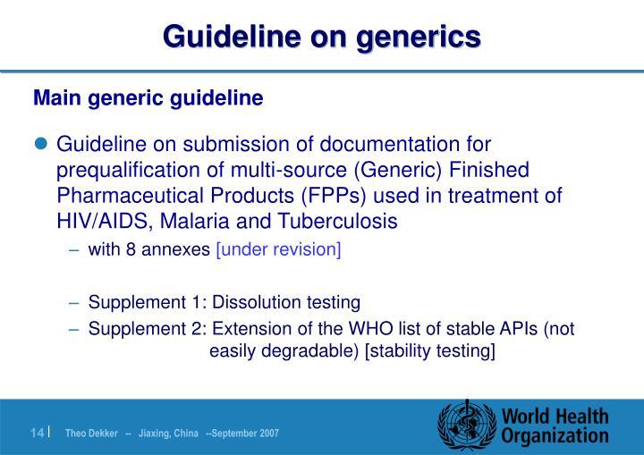 Guideline on generics