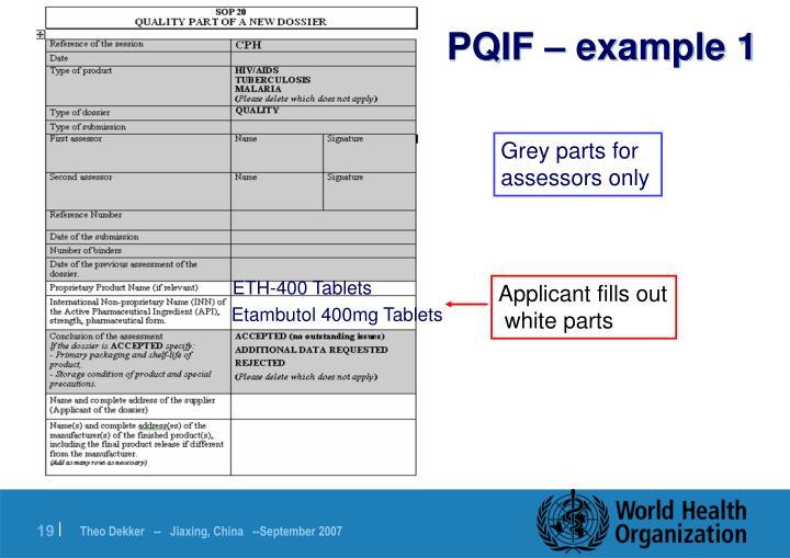 PQIF – example 1