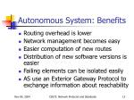 autonomous system benefits
