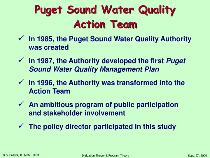 Puget Sound Water Quality Action Team