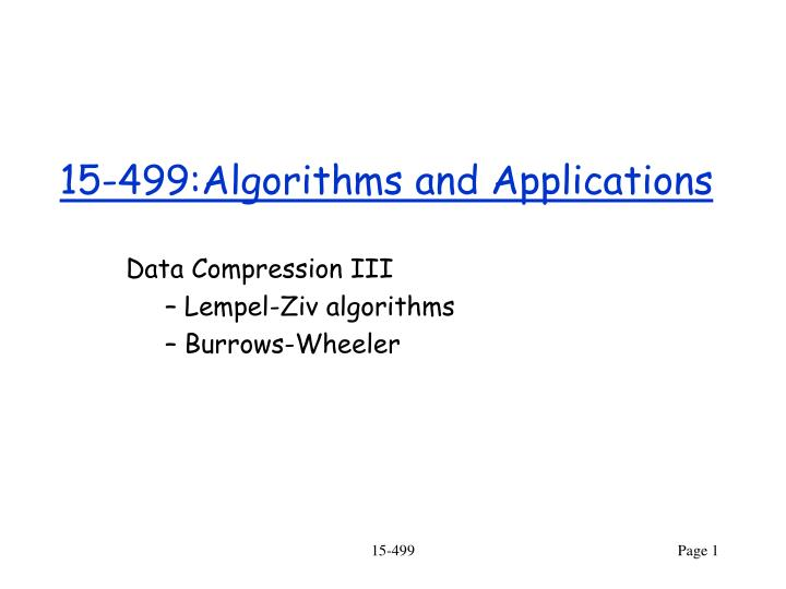 15 499 algorithms and applications n.