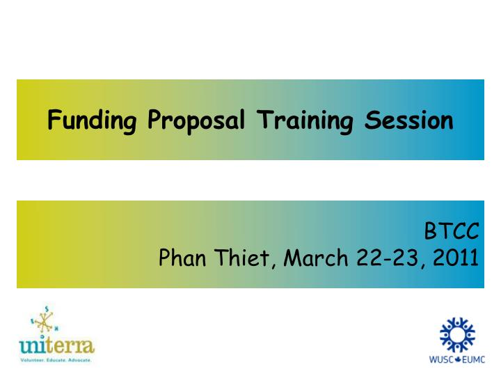 funding proposal training session n.