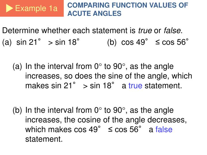 COMPARING FUNCTION VALUES OF ACUTE ANGLES