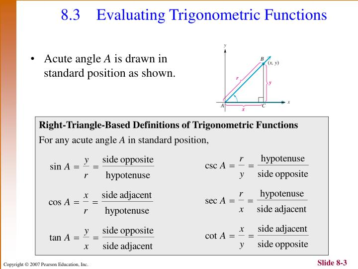 Evaluating Sine Cosine And Tangent Of Pi2: Chapter 8: Trigonometric Functions And Applications