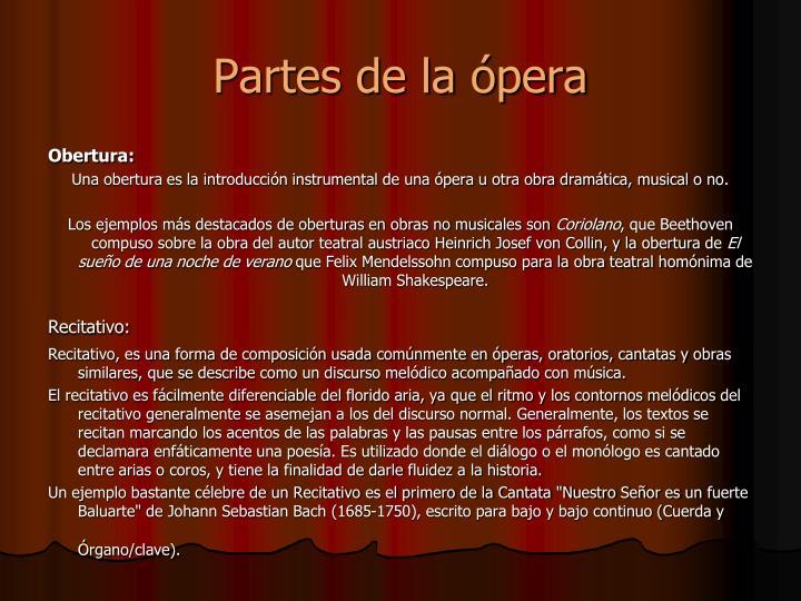 Partes de la ópera
