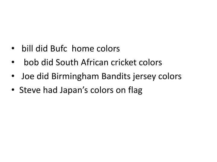 bill did Bufc  home colors