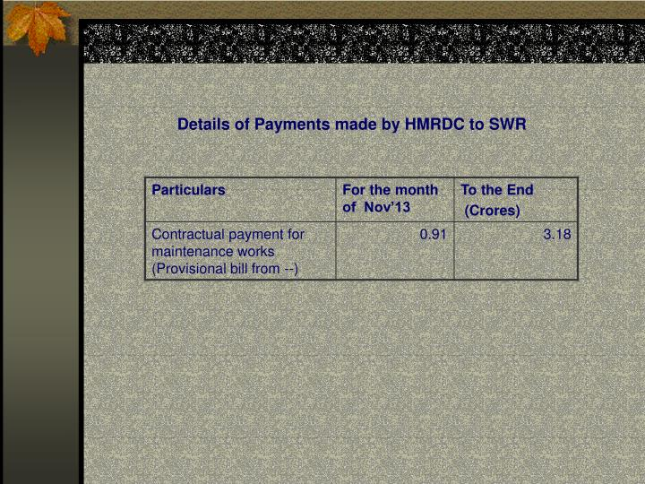 Details of Payments made by HMRDC to SWR