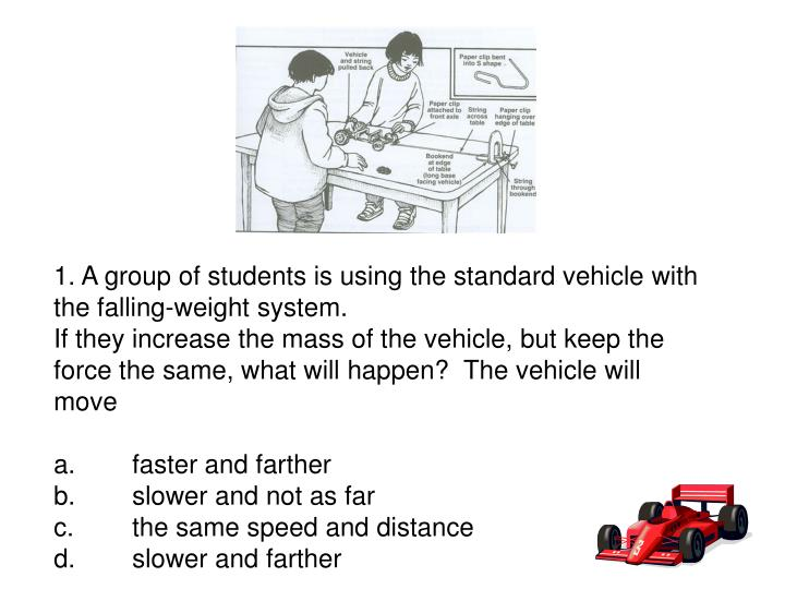 1. A group of students is using the standard vehicle with the falling-weight system.