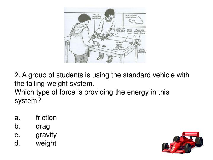 2. A group of students is using the standard vehicle with the falling-weight system.